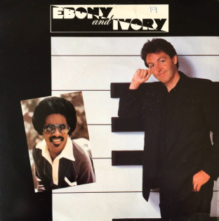 "Paul McCartney With Stevie Wonder ‎- Ebony And Ivory (7"") (G+/VG-)"